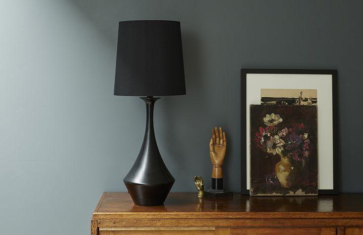 Black Asilah wooden lamp base from Copper & Silk
