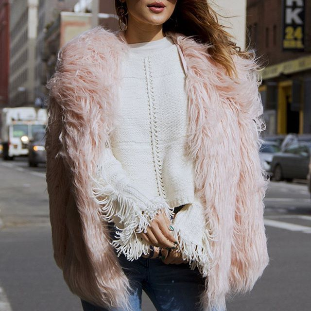 Trending at #NYFW: Fringe and faux fur. // Follow @ShopStyle on Instagram to shop this look