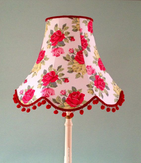 Cath Kidston Standard Lamp Shade in White Royal Rose Fabric