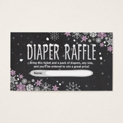 Winter Baby Shower Diaper Raffle Card Pink Girl - baby gifts child new born gift idea diy cyo special unique design