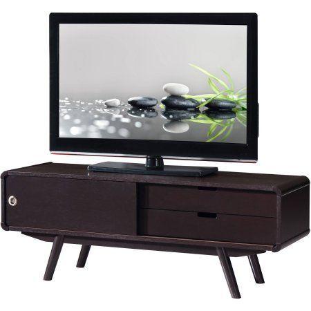 Techni Mobili Stylish Wood Veneer 55 inch TV Stand with Door and Storage, Wenge, Brown