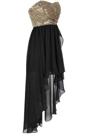 Black Gold Sequin High Low Dress