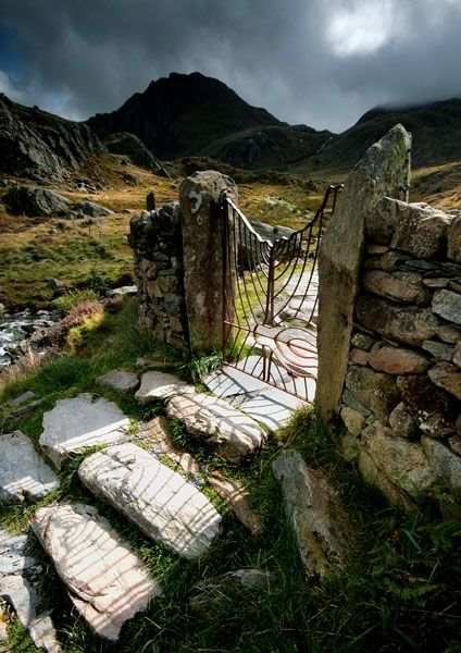 Iron gateway on the path to Tryfan Mountain, Snowdonia, from Ogwen Valley. Snowdonia National Park is the highest mountain in England and Wales. Located in Northern Wales // photo by Angele Jayne Latham