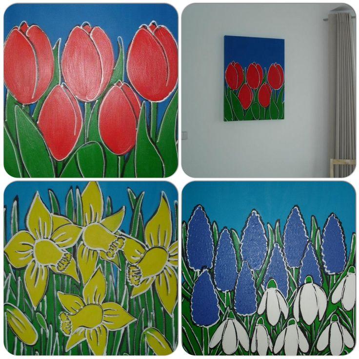 Serie bloemen , 70 x 50 cm, acrylverf
