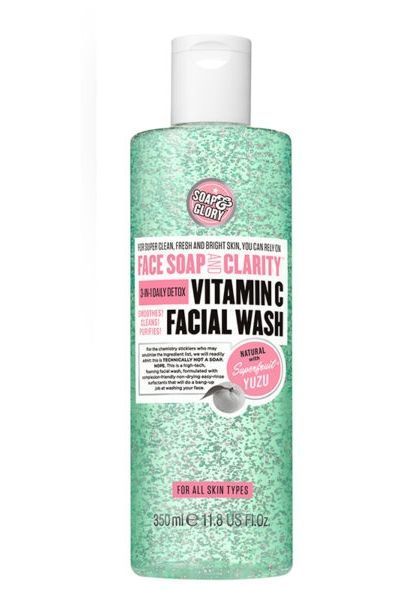 Superfruit yuzu and soft-scrub beads come together to provide the perfect cleansing, purifying and brightening face wash. Face Soap and Clarity 3-in-1 Daily Detox Vitamin C Facial Wash, Soap And Glory $12