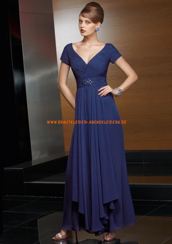 Billige blau Abendkleider 2013 A/Linie V-Ausschnitt mit kurz Ärmel online