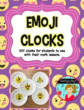 Emoji Clocks - A DIY Math Manipulative for Telling Time - Are you looking for fun hands-on clocks in your classroom that won't break the bank? These are inexpensive to print and easy for students to make.  Also, students love that they get to pick their own emoji and color it in. 14 different emoji designs for students to choose from! Quiz cards and worksheet included on telling time by 5 minutes. Just click to check it out today!