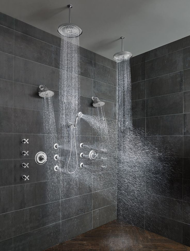 25 best ideas about double shower on pinterest bathroom for Black tile bathroom designs
