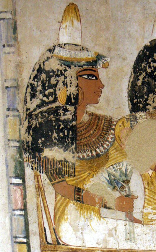 """Ancient Egyptian painting from the Tomb of Menna, located in the Sheikh Abd el-Qurna district of the Maadi, opposite Luxor in Egypt.  Menna was """"Scribe of the Fields of the Lord of the Two Lands"""" probably during the reign of Thutmose IV during the 18th dynasty."""