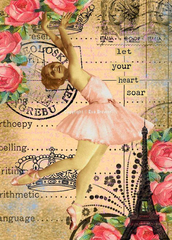 Altered art collage pink ballerina dance vintage original