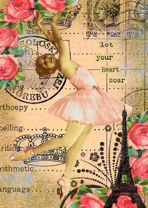 Original digital collage ephemera altered art