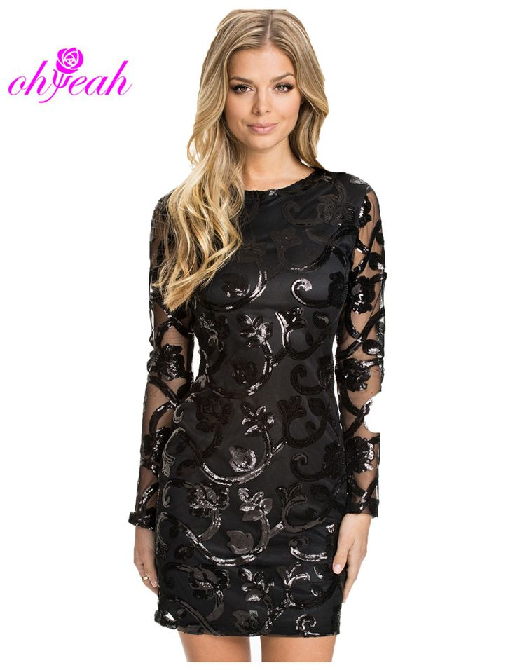 R70205 Brocade Sequin Fashion Dress Long sleeve Sexy leather decorated dress ohyeah Black women Bodycon dress for women