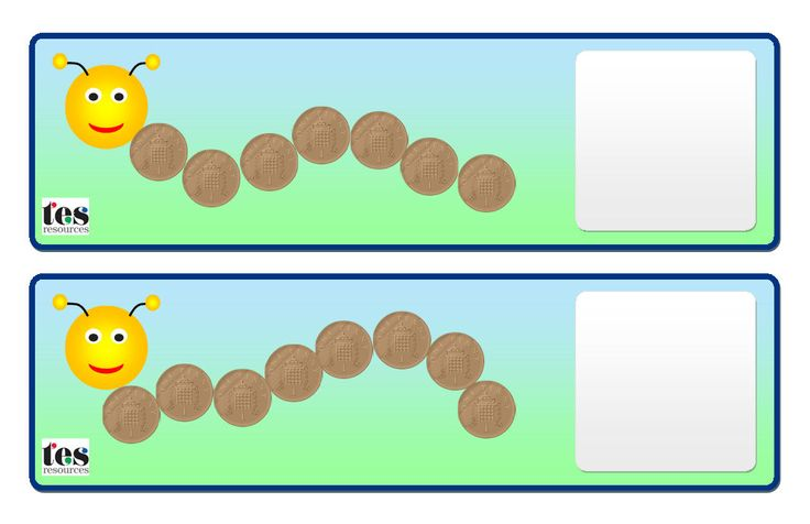 Hands on Money activity. Each caterpillar is made of coins. Pupils can use the cards to add up the amounts (mixed coins - 1p, 2p and 5p) or build the amounts with actual coins. Includes an assortment of examples plus blank templates for building different amounts/using different coins etc.