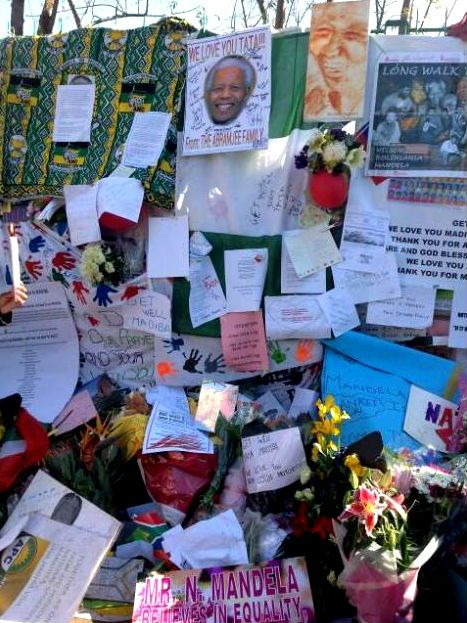 The growing wall of tributes for Madiba. Picture: Chriselda Lewis, SABC TV News journalist