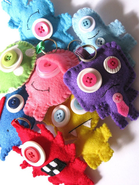Felt Monsters!  How cute, look at the one with the eyelid, so content.