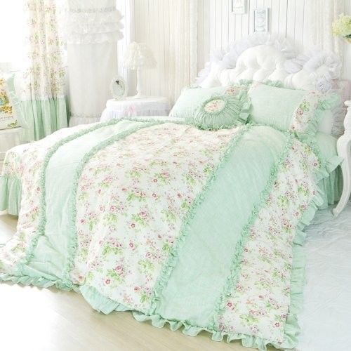 Pale green ruffles with tea roses made for a princess - Light green comforter set ...