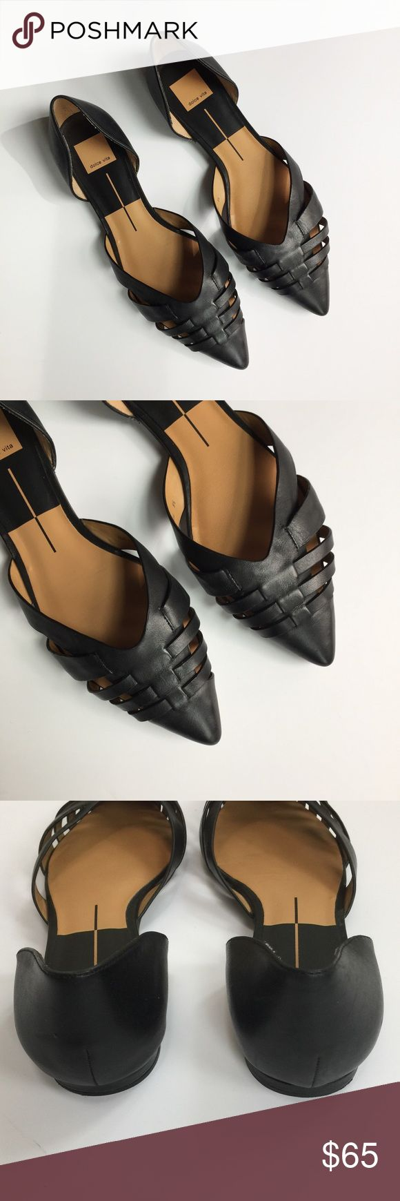 Dolce Vita Parklands Leather Pointed Toe Flats Dolce Vita Parklands Leather Pointed Toe Flats. Black leather. Woven front. Pointed Toe. Sold at Anthropologie. Stock tan photo is to show fit only. Minimal wear. A few minor scuffs. Dolce Vita Shoes Flats & Loafers