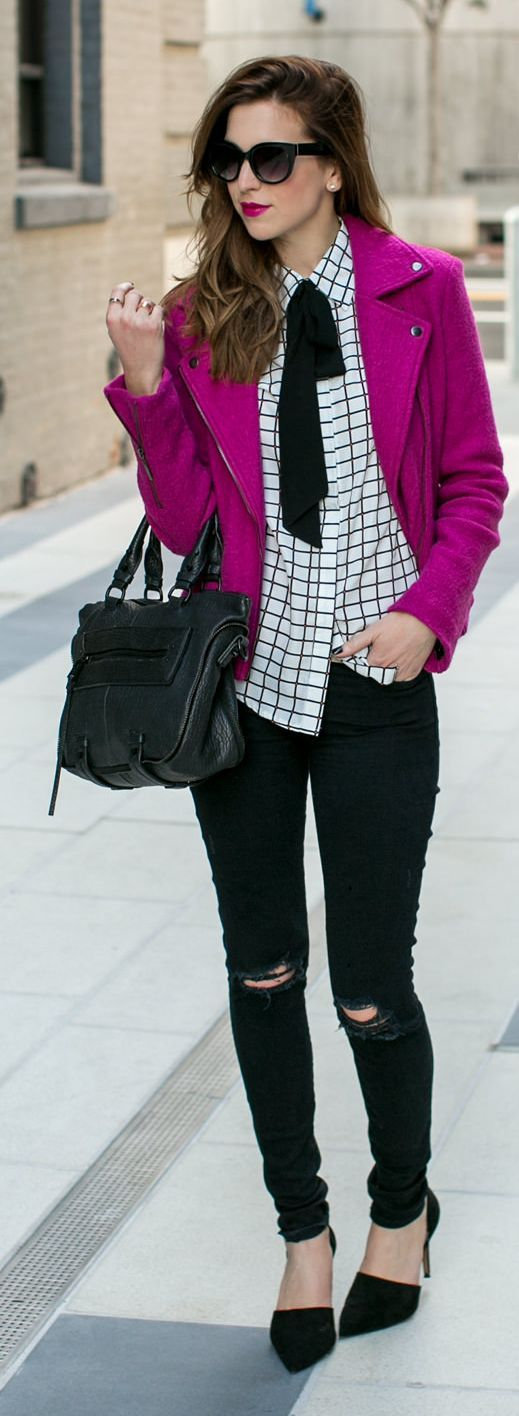 Black and white with a pop of fuchsia