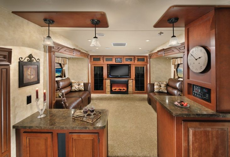 Inside a 5th wheel camper forest river sierra 366fl 5th - Front living room fifth wheel used ...