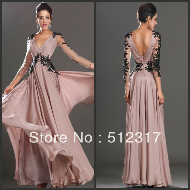 Muslim 3/4 Sleeve Lace Appliqued Open Back Pink Chiffon Prom Gown $135.00