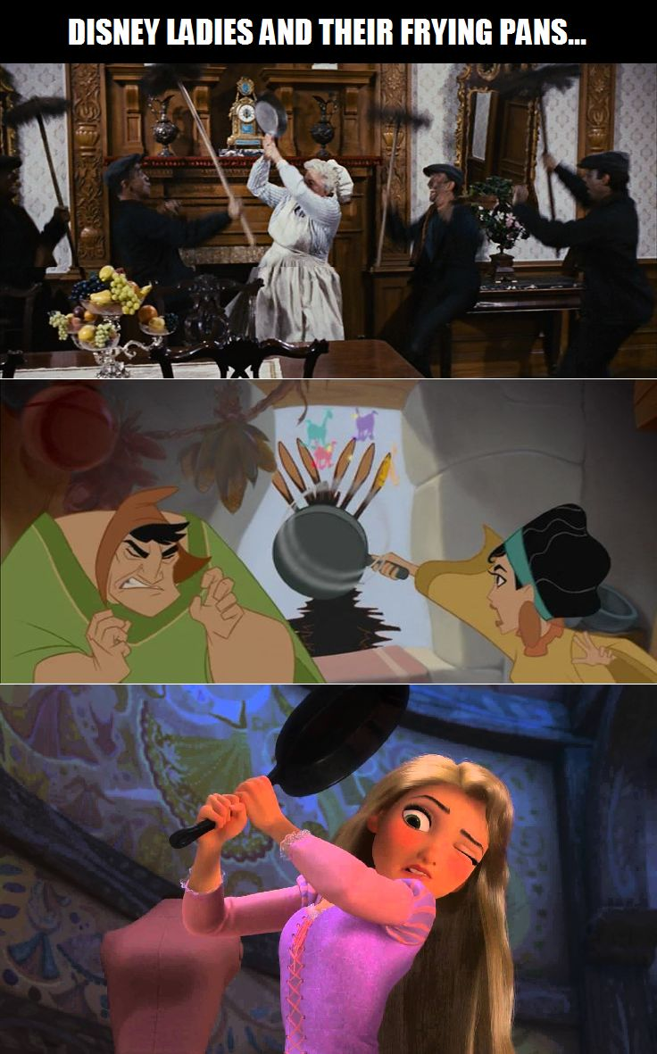 Disney ladies brandishing frying pans in Mary Poppins, The Emperor's New Groove, and Tangled.