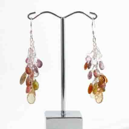 Jenny Whitmore Earrings Sapphire & Tourmaline Sterling Silver