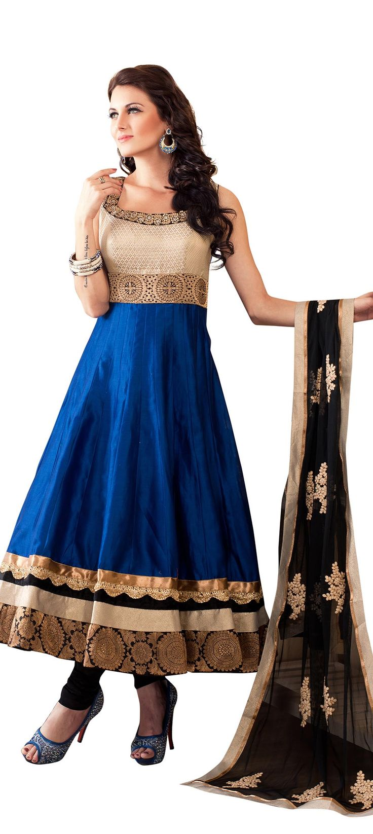 Buy Online from the link below. We ship worldwide (Free Shipping over US$100). Product SKU - 243275.Product Link - http://www.kalkifashion.com/cream-anarkali-suit-enhanced-in-banarasi-border.html