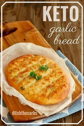 Das BESTE Rezept für käsiges Keto-Knoblauchbrot – mit Mozzarella-Teig. #wenig Kohlehydrate …   – Eten
