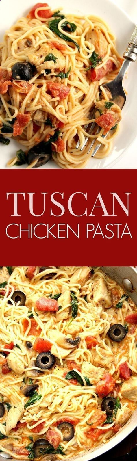 Tuscan Chicken Pasta Recipe - saucy pasta dish with chicken, spinach, tomatoes, olives, mushrooms and angel hair pasta. It cooks in 20 minutes and its pure comfort food for the soul! #pastafoodrecipes
