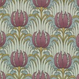MODA Cotton Quilting Craft Fabric - Reproduction 1890 1910 Bird Tulip Aqua CF Voysey - Morris Modernized by Barbara Brackman 8264 11
