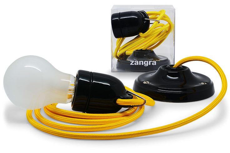 snoerlamp: fitting porselein + verschillende kleuren textielsnoer + plafondkapje porselein   Zangra.com
