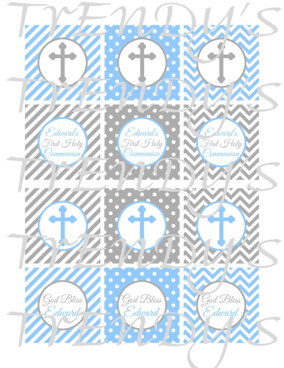 DIY Printable Personalized Boys First Holy Communion In Blue Amp Gray Cupcake Toppers Or Tags By