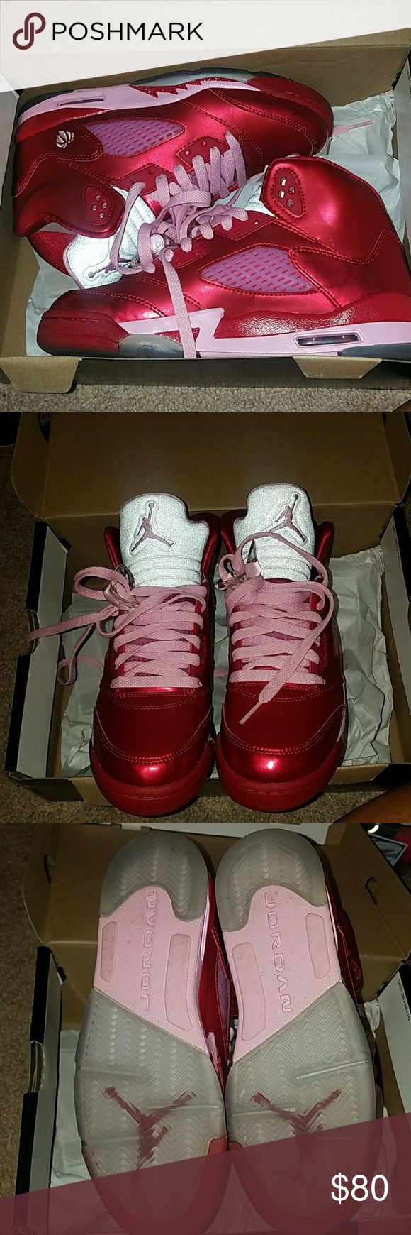 Never Worn. Girls Air Jordan Retro 5. Nike Valentine's 5. Size 5.5y. Super cute. Box available. Authentic. Jordan Shoes
