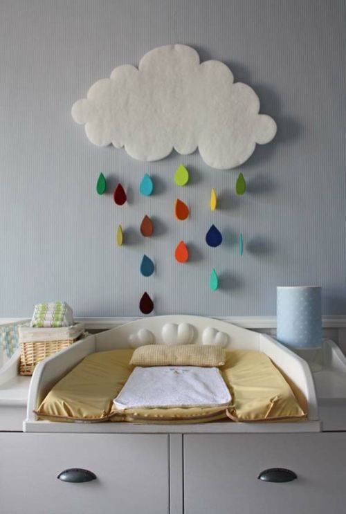 Playroom decor, add a felt sun moon & rainbow.  brilliant idea to put the changing table like this!