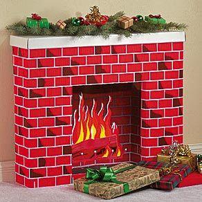 cardboard box, fireplace, christmas