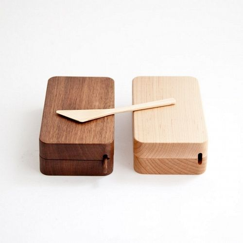 from Mjölk in Toronto: walnut and maple Kakudo Butter Cases -- simply gorgeous