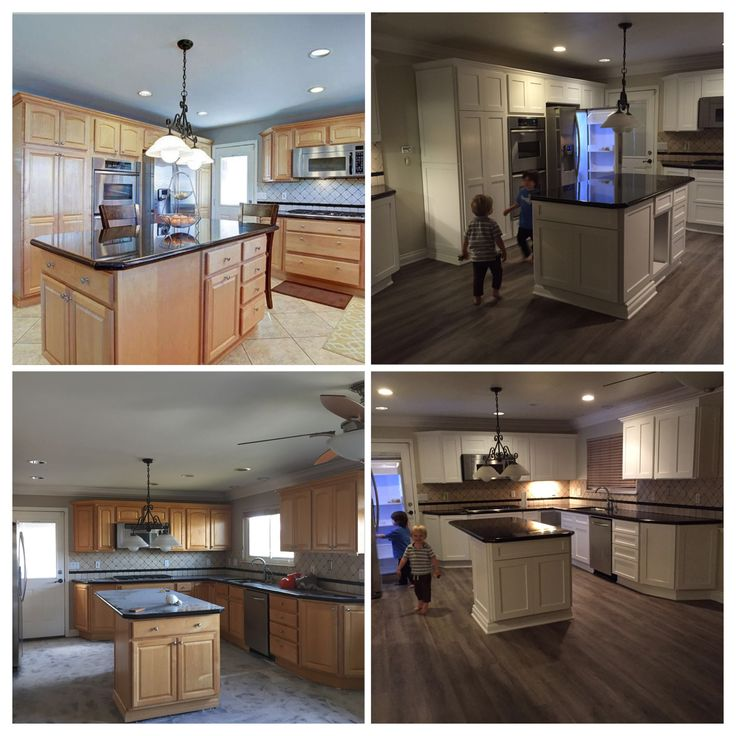Kitchen before and after- refaced cabinets with white shaker, added moulding, new floors...still needs new lighting!
