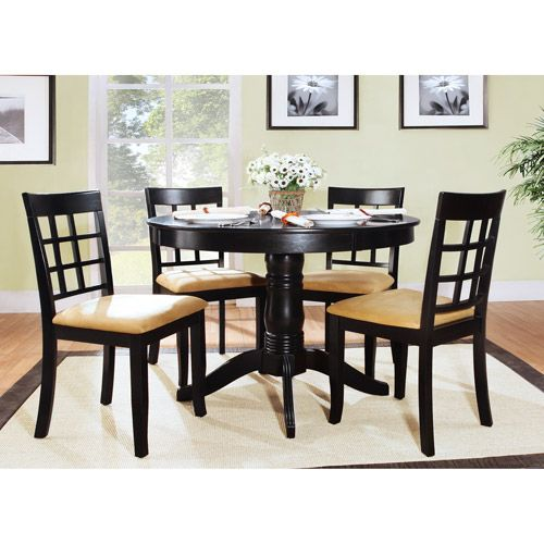 lexington 5piece round table dining set with windowback chairs black