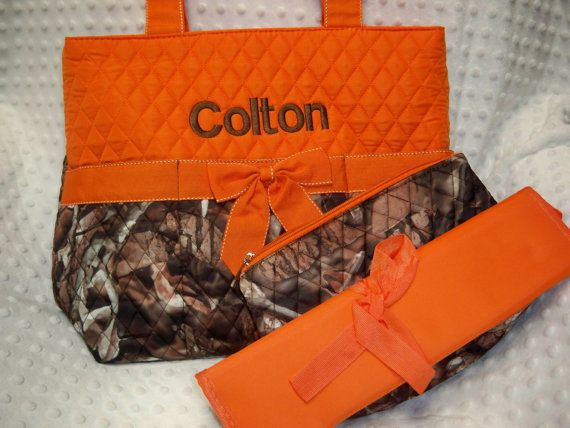 personalized 3 piece diaper bag set with name baby boy camo and orange personalized diaper bag. Black Bedroom Furniture Sets. Home Design Ideas