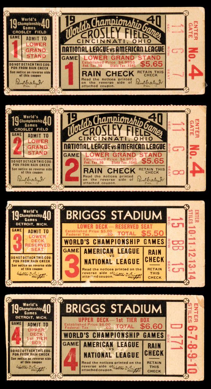 1940 World Series Ticket Stubs