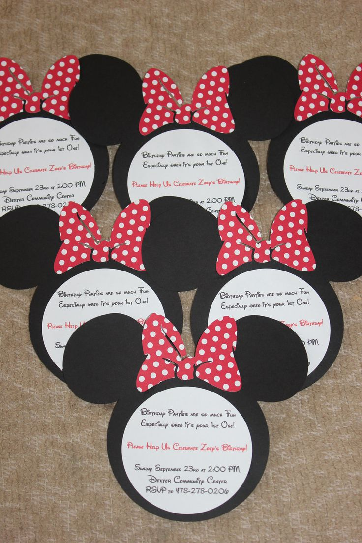 Set of 10 Minnie Mouse or Mickey Mouse INVITATIONS - Customizable - Hand Made - Pink or Red - Disney Font - Fast Production. $12.50, via Etsy.