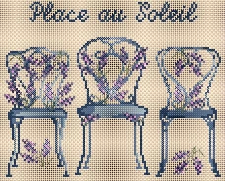 free chart, chairs with lavender