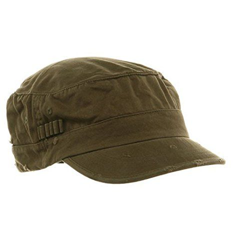 Washed Cotton Fitted Army Cap-Dark Olive L-XL