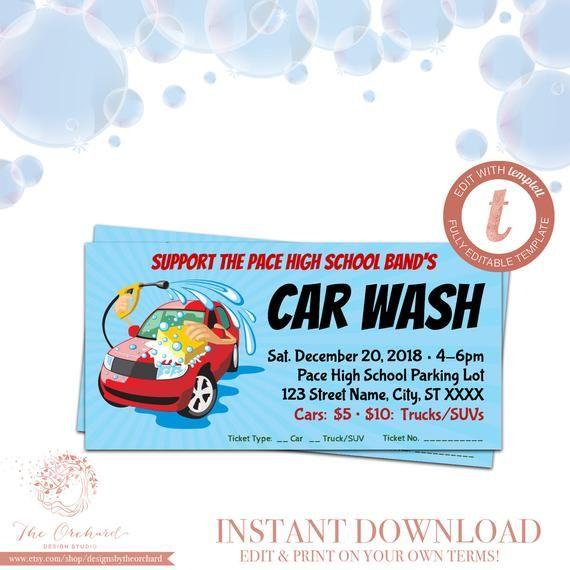 Car Wash Ticket / Fundraiser Church School Community Sports Team Booster Club Poster Invitation Event Ticket / Car Washing Stub Carwash