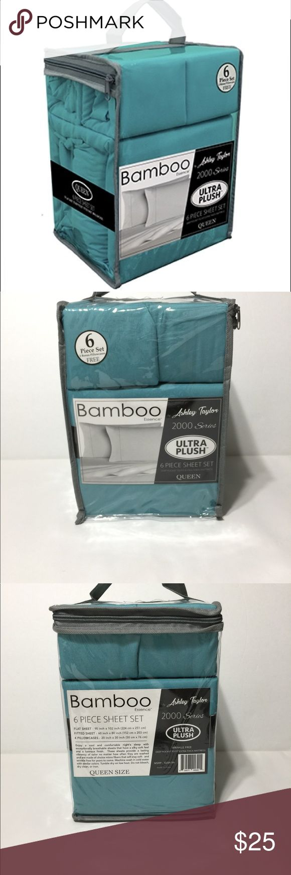 """Bamboo Essence by Ashley Taylor 2000 series QUEEN SIZE: 6 Piece Set includes 1 flat sheet, 1 deep pocket fitted sheet with wrap around elastic, and 4 pillow cases 16"""" Deep pocket fitted sheet for an 18"""" - 20"""" thick mattress Wrinkle free Super Soft Other"""