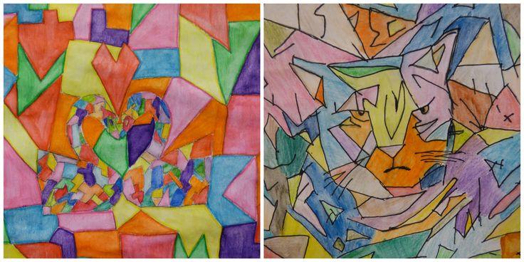 Kunstwerken geïnspireerd door de stijl van Franz Marc (gemaakt door groep 7/8)