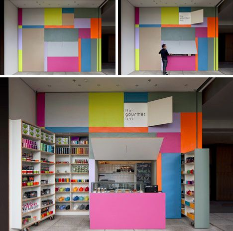 colorful modular street vendor - This would be a cool concept for a kitchen too. With different stained wood.