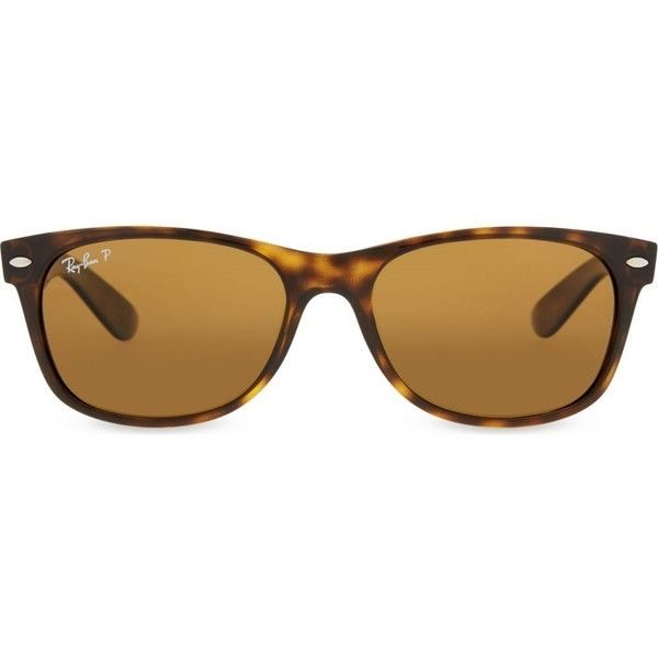 RAY-BAN RB2132 New Wayfarer tortoiseshell sunglasses ($210) ❤ liked on Polyvore featuring accessories, eyewear, sunglasses, tortoise, brown polarized sunglasses, ray ban glasses, brown sunglasses, round tortoiseshell sunglasses and ray ban wayfarer