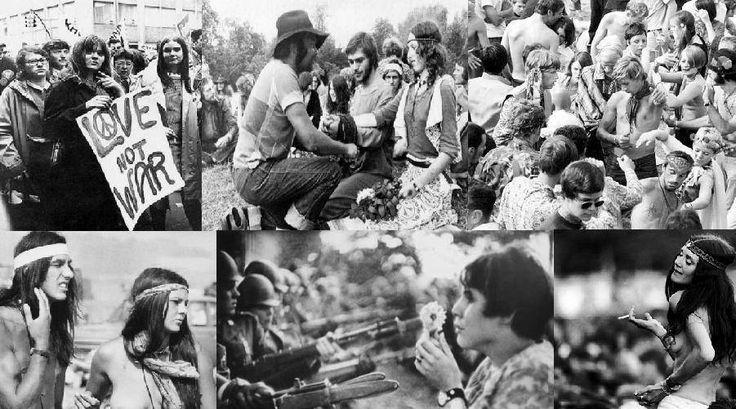 """1960s hippies culture.Khi chiến tranh giữa Việt Nam với Mỹ xảy ra. Rất nhiều người Mĩ đã phản đối. Họ di chuyển ra xa thành phố, trở thành những người hippi tự do, không tuân theo luật lệ nào cả. Slogan của họ là """"Free love"""" và """" Make love not war"""". Chính họ tạo nên một tiểu văn hóa ảnh hưởng rất lớn tới thời trang lúc bấy giờ."""