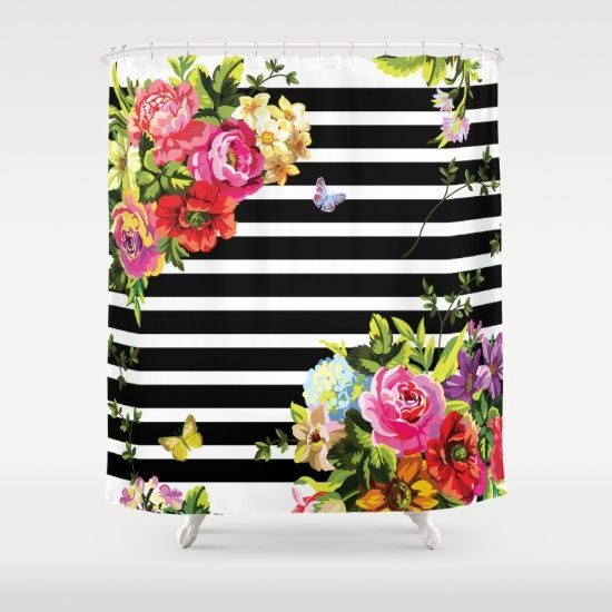 Buy Shower Curtains featuring Stripes Floral by MY  HOME. Made from 100% easy care polyester our designer shower curtains are printed in the USA and feature a 12 button-hole top for simple hanging.